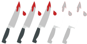 Illustration of 3 bloody knives, with only 3 of them coloured in. The other two are just grey.