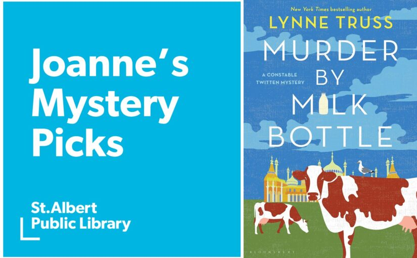 Book cover of Lynne Truss' Murder by Milk Bottle is an illustration of a couple of white and brown spotted cows in a field of grass in front of a large building featuring minarets and cupolas, which may be a mosque.
